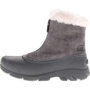 SOREL SNOW ANGEL Grey zip boots faux fur lined 8